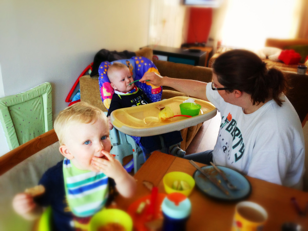 Home at last! - Emma, Ben and Mattie enjoying breakfast together for the first time since Mattie was admitted to hospital.