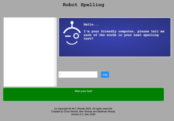 The 1st Version of Robot Spelling